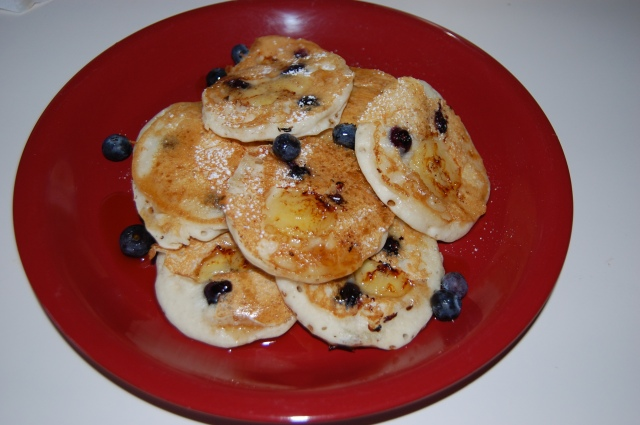 Blueberries and banana pancakes