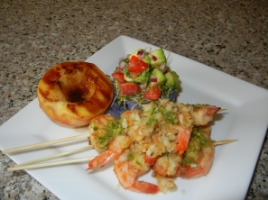 Grilled Garlic Shrimp with Avocado Salsa, Grilled Peach and Mashed Purple Potato