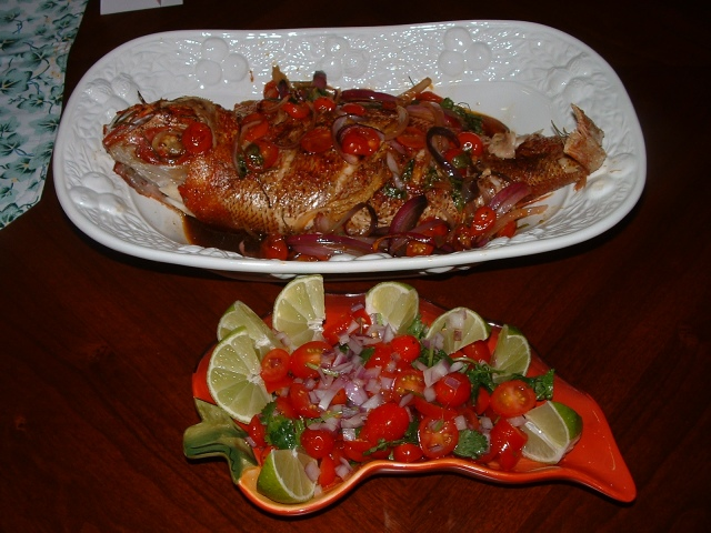 Whole snapper Escabeche with salsa
