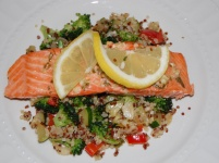 Baked Salmon with Quinoa Stir-fry