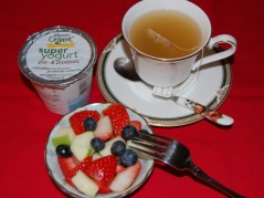 Unsweetened Low-Fat Yogurt, Bowl of Fruits, Herbal Tea