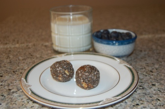 Protein Balls, Flax Milk, Bowl of Blueberries