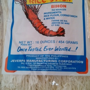 Rice noodles (Bihon) available at Asian stores