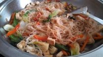 Turn heat to low at this point and stir-fry the pancit until well incorporated. keep stirring until the sauce is absorbed.