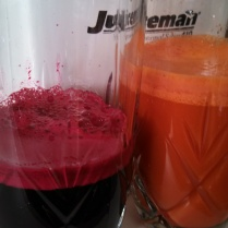 Juice the beet roots (I was juicing some carrots too that day but did not include it in the recipe because little A is allergic to carrots))