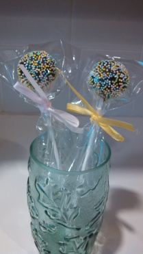 Easter Cake Pops wrapped then tied with ribbons.