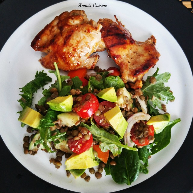 Grilled Chicken with Lentil salad By Anna's Cuisine