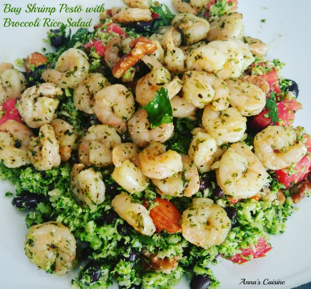 bay-shrimp-pesto-with-broccoli-rice-salad